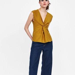 Zara KNOTTED V-NECK TOP DETAILS-4437/070-LINEN/COT